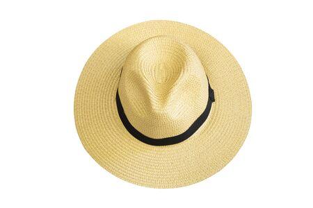 Bovenaanzicht vintage mooie stro hoed geïsoleerd op een witte achtergrond