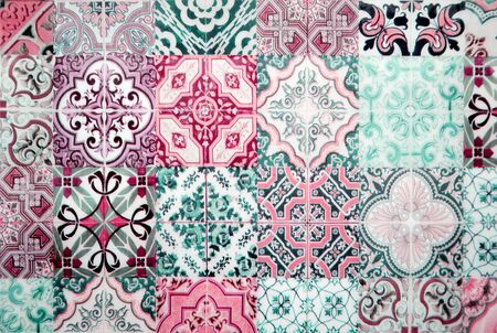 Colorful vintage ceramic tiles wall decoration. Turkish ceramic tiles wall background Archivio Fotografico - 129096808