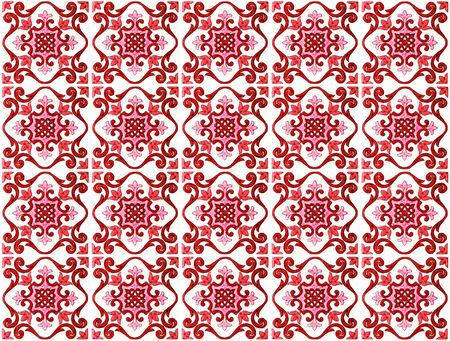 Colorful vintage ceramic tiles wall decoration.Turkish red ceramic tiles wall background Archivio Fotografico - 129096824