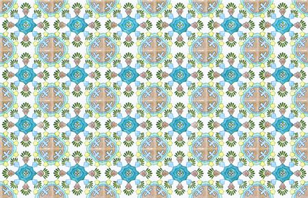 Colorful vintage ceramic tiles wall decoration.Turkish ceramic tiles wall background Archivio Fotografico - 129096830