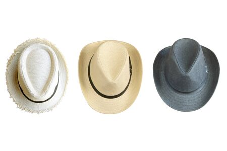 collection of vintage pretty straw hat isolated on white background Archivio Fotografico - 129294136