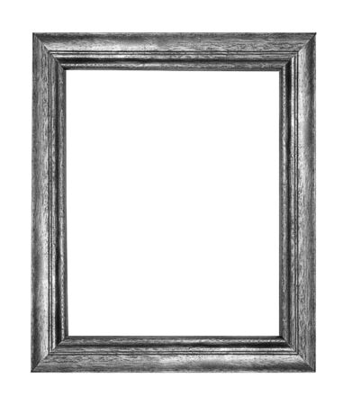 Black and White wood picture frame Isolated on white background Archivio Fotografico - 129294198