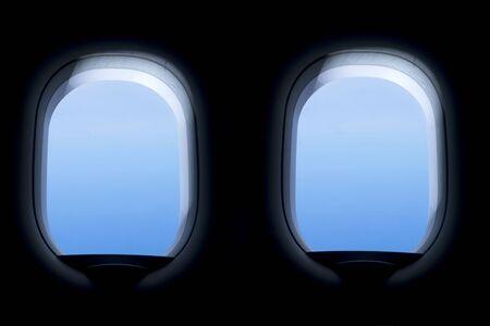 inside of window of airplane Archivio Fotografico - 129294391