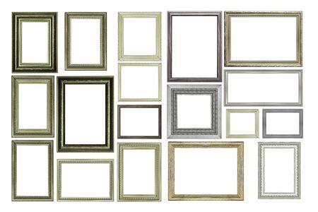 Conjunto de marco de madera y plata Vintage, aislado en blanco