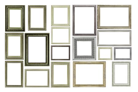 Set di cornice d'epoca in argento e legno, isolato su bianco