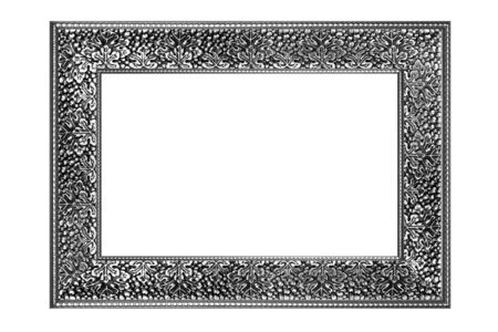 vintage picture and photo frame isolated on white background