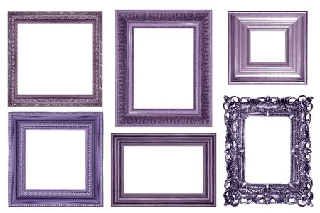 collection of vintage purple silver and wood picture frame, isolated on white