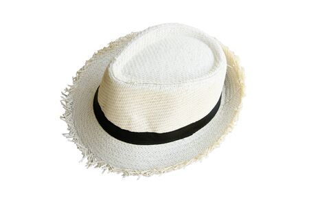 Top view vintage pretty straw hat isolated on white background Stok Fotoğraf