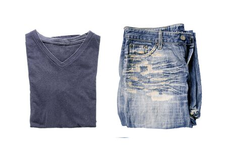 Top view of blue t-shirt V-shaped collar and Old jeans on a white background