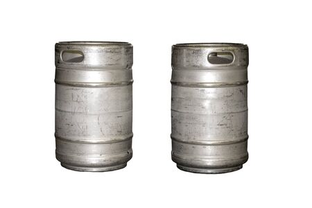Old Aluminum Beer keg isolated on white background. 免版税图像