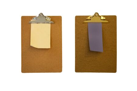 Clipboards with a blank sheet of paper isolated on white background 免版税图像