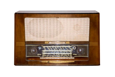 antique radio on white background
