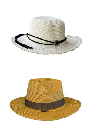 Vintage pretty straw hat isolated on white background. Beside view.