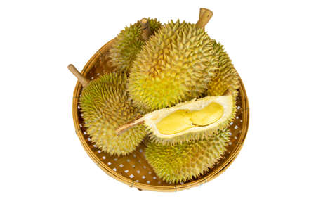 Durian on bamboo basket isolated on white background. Durio zibethinus. 免版税图像