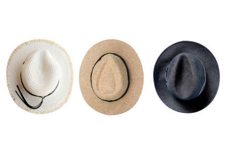 collection of vintage pretty straw hat isolated on white background