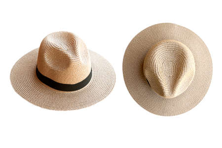 Vintage pretty straw hat beside and top view isolated on white background. 免版税图像