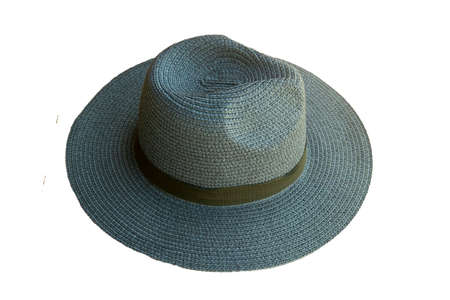 Top view vintage pretty straw hat isolated on white background 免版税图像