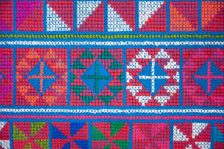 Hill tribe embroidery pattern background. Foto de archivo
