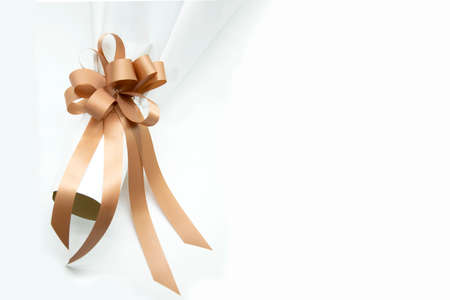 brown ribbon on Flower bouquet and white background.