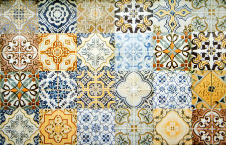Vintage ceramic tiles wall decoration.Turkish ceramic tiles wall background Stock fotó