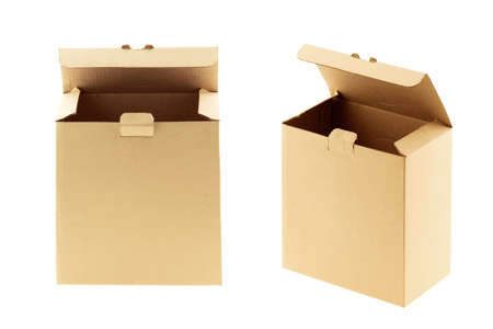 brown carton box open isolated on white background Standard-Bild