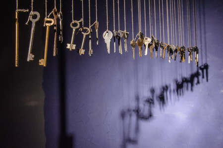 schaduw op de muur van de sleutel. vraag sign.kontsept Stockfoto