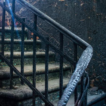 charred: charred walls, stairs Stock Photo