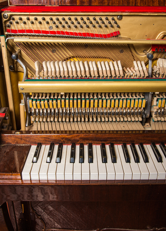 classical mechanics: Close up of inside element vintage piano Stock Photo