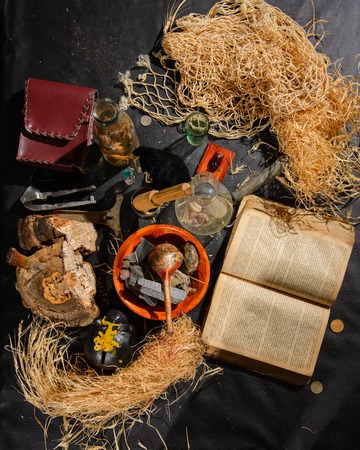 怖いハロウィーンの実験室。錬金術師の表