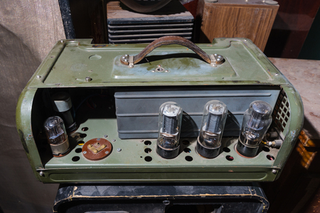 amp: Vintage tube Valve Amplifier Stock Photo
