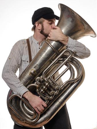 baard liefdevolle man met bretels en GLB tube kussen