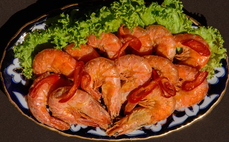 rosmarin: fried prawns with fresh rosmarin and lemon juice