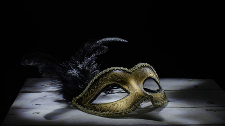 The Venetian mask with feather . light brush