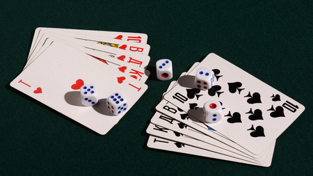 royal flush: Ten cards and five dice, showing a royal flush  on the table.