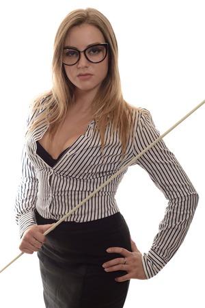 blusa: Sexy chica con gafas Profesor terminante una falda larga negro y camisa a rayas con un puntero en la mano aislados en blanco Foto de archivo