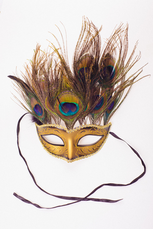 Mask Mask with Feathers Venetian Style White Gold X Carnival Party F9Q6