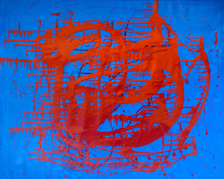 avant-garde abstract painting paints on wall red and blue color.