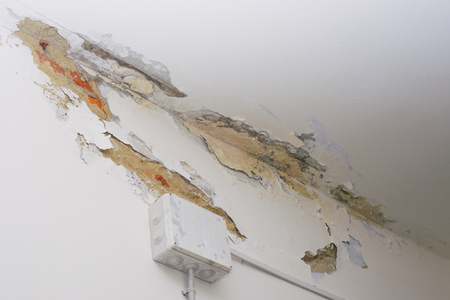 Damage ceiling from water pipelines leakage. Housing problem concept - image Reklamní fotografie