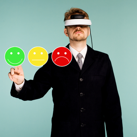 Business man in virtual glasses giving rating and review with happy smiley face emoticon icon. Customer satisfaction and service or product quality survey or poll. Modern abstract feedback concept.