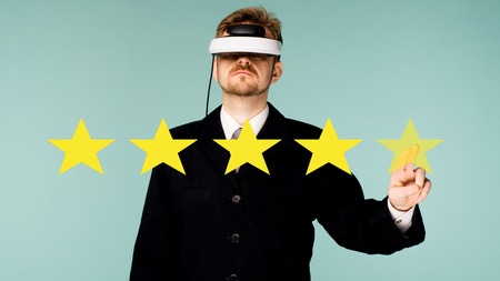 Business man in virtual glasses giving Five stars rating concept about positive customer feedback and review, excellent performance on blue background