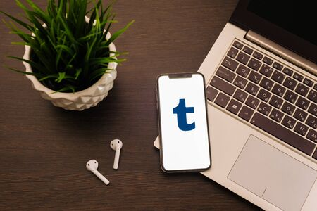 Tula, Russia - May 24,2019: Apple iPhone X with Tumblr logo on the screen. - Image Editorial