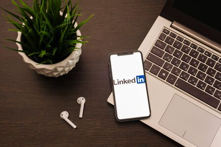 Tula, Russia - May 24,2019: Apple iPhone X with Linkedin application on the screen. - Image