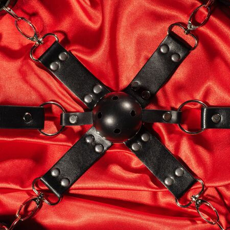 Top view of bdsm outfit. Bondage and close up Gag ball on the red linen. Adult sex games. Kinky lifestyle. - image