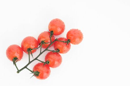 Ripe cherry tomatoes on a twig on a white background - image Imagens