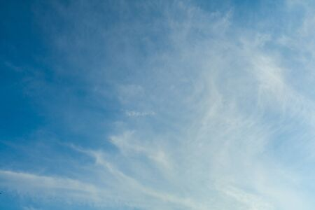 White Spindrift clouds on blue beauty sky - image Stock Photo - 129134057