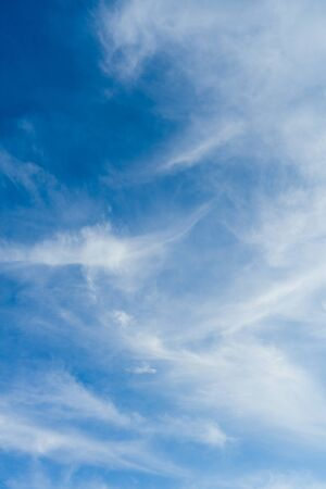 Cloudscape. Blue sky and white cloud. Sunny day. Spindrift clouds. - image