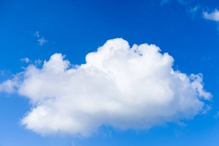 Cloudscape. Blue sky and white cloud. Sunny day. Cumulus clouds. - image