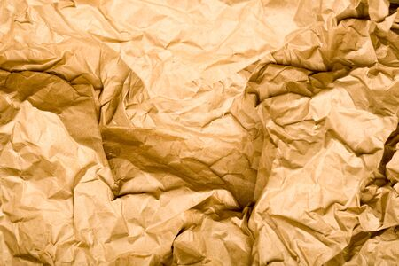Wrinkled Kraft Paper Texture. Natural Brown Vintage Background - image