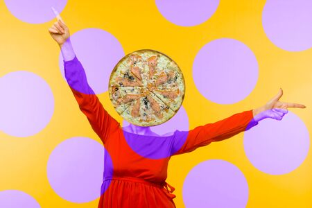 Contemporary art collage. Minimal pizza lover concept. Pizza and girl in red dress.