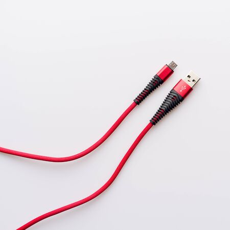 Red wire USB micro BM. Charging and connection cable - image Zdjęcie Seryjne